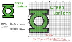 Green Lantern Superhero logo cross stitch pattern 61 x 40 stitches 2 DMC threads