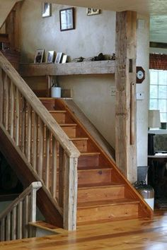 Interesting contrast of old barn wood on the railing and the steps.