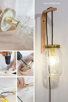 Reutiliza un bote de conserva para crear una lámpara con aire vintage para tu pared