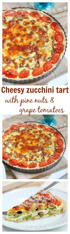 A simple summer tart filled with sliced zucchini, feta and parmesan cheese, toasted pine nuts and grape tomatoes. This cheesy zucchini tart is a crowd pleaser may it be at your next picnic, potluck or just family dinner.
