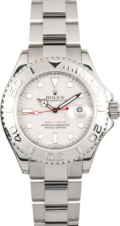 Manufacturer: Rolex   Model Name/Number: Yacht-Master 116622PLSO   Serial/Year: Z 2006-2007   Grade: (What's This?) II   Gender: Men's   Features: Automatic 3135 movement w/ date, scratch-resistant sapphire crystal, waterproof screw-down crown   Case: Stainless steel w/ platinum rotatable time-lapse bezel (40mm), inner reflector ring engraved w/ serial number   Dial: Platinumw/ luminescent hour markers and red second hand   Bracelet: Stainless s...
