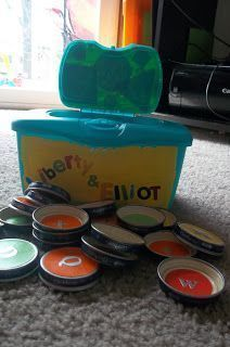 """Check out all the incredibly clever ways baby food jars can be used. Creating durable ABCs """"cards"""" is a great idea — baby can't destroy these like he can with cardboard. Simply upcycle baby food jar lids by adding stickers with the letters of the alphabet Baby Jars, Baby Food Jars, Food Baby, Baby Food Jar Crafts, Baby Crafts, Infant Crafts, Infant Activities, Activities For Kids, Sensory Activities"""