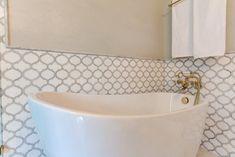 Affordable Bathroom Remodeling. Bathroom Tile Ideas.  Flooring and Wall Tiles.  Tilebuys Arabesque Marrakech Morocco Waterjet Mosaic Tiles.  Carrara (Carrera) + White Thassos Marble.  Bathroom remodeling with a budget has never been so satisfying. Marble bathroom flooring #tiles  #tilestyle  #arabesque #marrakech #marocco #bathroom #bathroomideas #bathroomdecor #bathroomremodel #bathroomdesign #bathroomremodeling #bathroomrenovations #marblebathroom #decoratingbathrooms #interiordesign