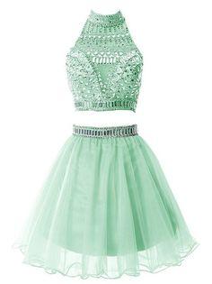 2016 Custom Charming Green Beading Short Homecoming Dress,Sexy Halter Evening Dress,Sexy Backless Chiffon Prom Dress