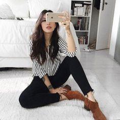 16 Outfits para verte guapísima con skinny jeans negros