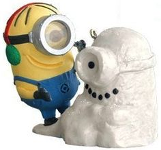 Minion Christmas ornament from the Despicable me making a snowman
