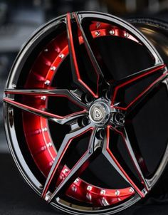 20 Staggered MQ Wheels 3259 Black Red Inner Rims Extremely Concave #customrims