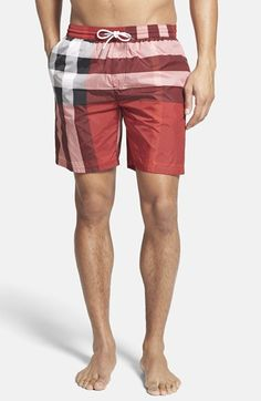 Free shipping and returns on Burberry Brit 'Gowers' Check Swim Trunks (Men) at…