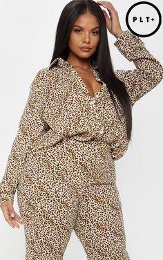 ce42aad04d PrettyLittleThing Leopard Print Satin Oversized Shirt