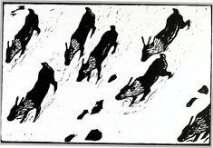 John Savio, Reindeer calves. Woodcut Woodblock Print, Pattern Books, Printmaking, Reindeer, Childrens Books, Scandinavian, Moose Art, Old Things, Paintings