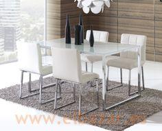 Mesa Crido comedor/salón, cromado y cristal Blanco | Comprar | El Bazar