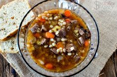 Crockpot Beef and Barley Soup Recipe - Need an easy but delicious dinner idea? Dump it all in your slow cooker and go! This Slow Cooker Beef and Barley soup recipe is perfect for the whole family! Healthy, filling and did I mention delicious? Slow Cooker Beef, Slow Cooker Recipes, Crockpot Recipes, Soup Recipes, Cooking Recipes, Cooking Games, Healthy Recipes, How To Cook Barley, How To Cook Steak