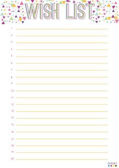 Free Wish List Printable