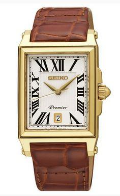b4c416ad68c7 Montre Homme Seiko Premier Quartz SKK720P1, bracelet en cuir marron et  boîtier rectangulaire en acier doré, cadran blanc.