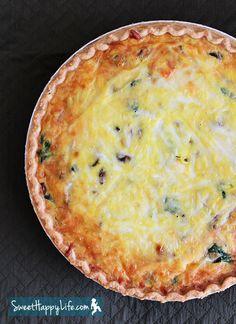 Spinach-Mushroom Quiche   Easy Family Recipes   Sweet Happy Life