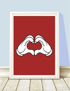 Poster Mickey Hands Heart - Hey You - A4 - R$ 25