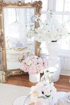 just making my sunroom look like a flower shop. Anything to help with. Romantic Homes, Elegant Homes, Romantic Home Decor, White Cherry Blossom, Cherry Blossoms, White Cherries, Decoration Inspiration, Pink Peonies, Pastel Roses