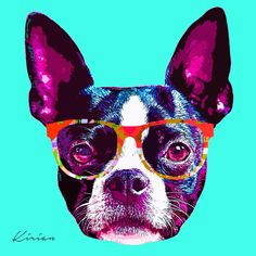 Custom Boston Terrier Hipster POP art. I can turn your dog into a Hipster too!