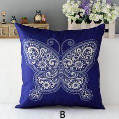 Blue and white flowers throw pillows Chinoiserie sofa cushions