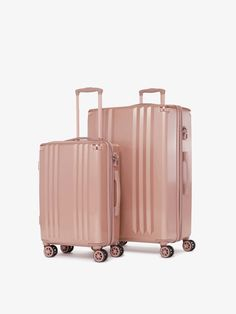 Get noticed everywhere you go with the show stopping Ambeur 2 piece Luggage Set. This set includes a lightweight, hardside Carry On and Large Checked In Luggage. 3 Piece Luggage Set, Large Luggage, Large Suitcase, Suitcase Set, Vintage Luggage, Carry On Luggage, Luggage Sets, Rose Gold Luggage, Twice As Nice