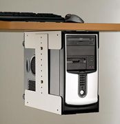 An adjustable, sturdy holder for a computer that suspends it under the desk, keeps it away from dirt, and leaves more room on the desktop