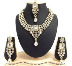 choker style white cz gold plated necklace earring set