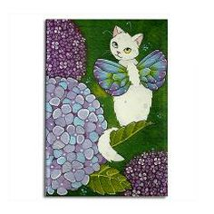 Hydrangea Catterfly Rectangle Magnet > Moussart