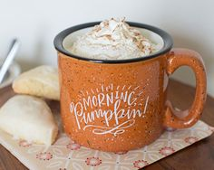 It's heavy, awesome speckled stoneware, outfitted with the cutest little fall phrase. Whether you're taking your coffee black and cozied by a campfire or with pumpkin spice at the kitchen table, you're gonna love this mug! Cute Coffee Mugs, Cute Mugs, Coffee Love, Coffee Cups, Lindsay Letters, Pause Café, Living At Home, Mug Cup, Pumpkin Spice