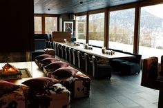 Nira Alpina is a welcoming mountain retreat connected to cable car station where a calming fusion of luxury, fun and rugged Alpine beauty awaits you. Alpine Hotel, Animal Skin Rug, Car Station, Covered Walkway, Alpine Style, Velvet Cushions, Showcase Design, Switzerland, Upholstery
