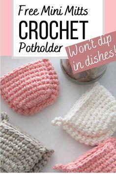 Crochet Potholder Patterns, Crochet Mitts, Crochet Hot Pads, Crochet Bowl, Crochet Dishcloths, Cute Crochet, Crochet Crafts, Crochet Projects, Cotton Crochet