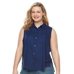 Juniors' Plus Size SO® Pleated Sleeveless Shirt, Teens, Size: 1XL, Blue