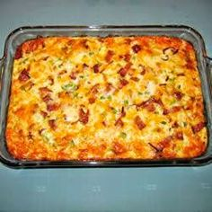 Ingrédients  1 pound bacon  1/4 cup chopped onion  1/4 cup green pepper, diced  3 cups shredded cheddar cheese  8 eggs  2 cups milk  Packages of 1 (16 oz) frozen potato brown browns, thawed for Breakfast .