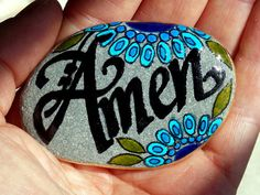 Amen / Painted Rock / Sandi Pike Foundas / Sea Stone www.LoveFromCapeCod.etsy.com