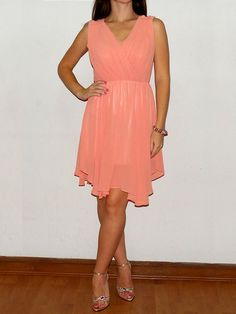 A-line V-neck Chiffon Short/Mini Sleeveless Draped Prom Dresses at sweetquinceaneradress.com