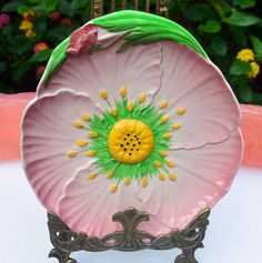 Vintage Carlton Ware Plate - Pink,  Floral Australia Design. Tulip and Sunflower - Rare, Collectible!