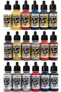 Airbrush Farben 18 x 17 ml Vallejo Model Air Basis Bunt Metallic Farben-Set…