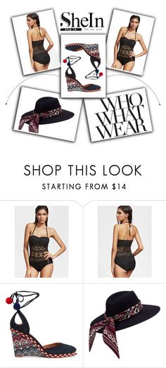 """""""Black Hollow One Piece Swimwear-SheIn"""" by stella-kar ❤ liked on Polyvore featuring Who What Wear and Aquazzura"""