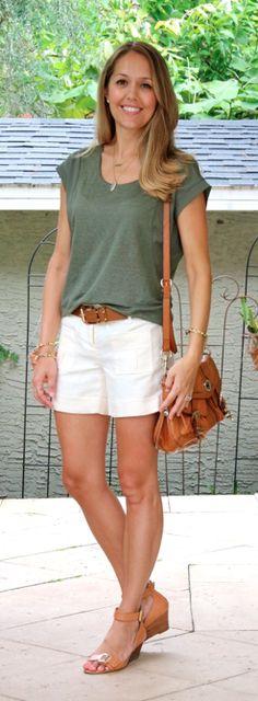 Green tee, ivory shorts, cognac belt and purse