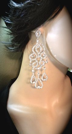 Chandelier earrings  Long  Rhinestone by QueenMeJewelryLLC on Etsy, $67.99