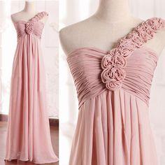 One shoulder Chiffon High Waist Long Classic Style Bridesmaid Dresses, FS509