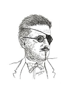James Joyce (Drawing),  14x18  by Brian Keating Original ink drawing on fine grain, acid free white paper.  James Augustine Aloysius Joyce (2 February 1882 – 13 January 1941) was an Irish novelist and poet. He contributed to the modernist avant-garde and is regarded as one of the most influential and important authors of the 20th century. Joyce is best known for Ulysses (1922), a landmark work in which the episodes of Homer's Odyssey are paralleled in an array of contrasting literary styl...