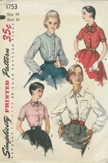 An unused original ca. 1950's Simplicity Pattern 1753.  Misses' and women's blouse. V.1, V.2 have pointed collar, long sleeves that gather to buttoned wristbands. V.1 has pocket on left side. V.2 top-stitched band at center front, button-down collar. V.3, V.4 have short sleeves with buttoned sleeve bands. V.3 boasts tie-collar. V.4 wider tie-collar has point in back. Tie ends slip under buttoned tab at neck edge, center front.