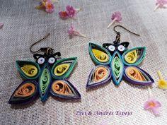 la nueva colecion de bisuteria de papel primavera- verano2013 pendientes mariposas hechos con papel (quilling) y endurecidos no pesan muy ligeros...