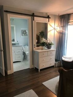 pretty sliding barn door it slides behind a dresser. How to Make a Pretty Sliding Barn Door DIY House Design, Bedroom Decor, Bathrooms Remodel, Home Remodeling, Home, Interior, Bathroom Remodel Master, Home Decor, Diy Sliding Barn Door