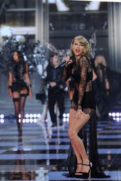 Taylor Swift on runway at the annual Victoria's Secret fashion show 2014. - December 2, 2014 in London, England.