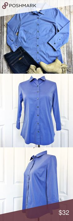 """J. Crew Haberdashery Button-Up J. Crew Haberdashery Button Up in periwinkle blue.  Shirt is fitted with 3/4 sleeves and has some stretch to it.  In EUC!  Top is made of 97% cotton and 3% spandex.  Measurements laid flat: bust 18"""" and length from top of shoulder to hem 26"""". J. Crew Tops Button Down Shirts"""