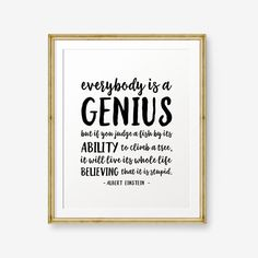 Everybody is a Genius Classroom Decor Inspirational Quotes