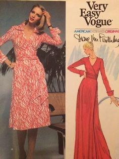 VAD 1549 Diane von Furstenberg Wrap Dress 70s Sz12/34 used complete sld 84.01+fr 3bds 5/22/15