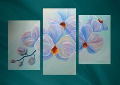 """Триптих """"Орхидея"""". Олеся Лопатина. Холст 40*60см, 40*80см, 40*60см, масло. 08/2017. orchids"""