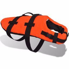 Dog Float Jacket Pet Rescue Vest Orange With A Handle Bar Water Life Safety Coat #Dog #Float #Jacket #summer #pet #paws #water